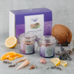 image of gift set of two jars of imago body scrub and soak which is full of ingredients that are natural remedies for dry skin